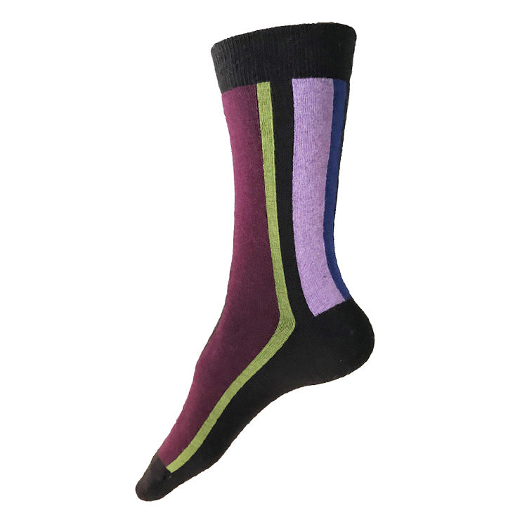 MADE IN USA women's brown cotton vertical striped socks with navy, leaf green, lilac, and periwinkle stripes by THIS NIGHT