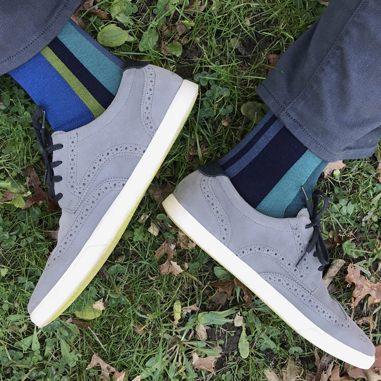 MADE IN USA men's vertical striped socks in navy, fern green, teal, and slate blue by THIS NIGHT