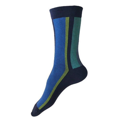 MADE IN USA women's vertical striped cotton socks with blues, greens, and teals by THIS NIGHT