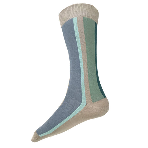 MADE IN USA men's beige/tan cotton vertical striped socks with slate blue, aqua, and teals by THIS NIGHT