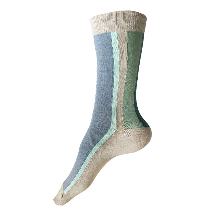 MADE IN USA vertical striped cotton women's tan/beige socks by THIS NIGHT with light blue, pale aqua, Statue of Liberty green, and jade