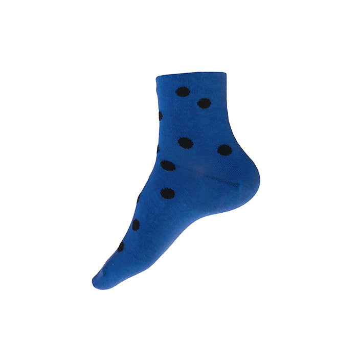MADE IN USA women's polka dot blue and black cotton ankle socks by THIS NIGHT