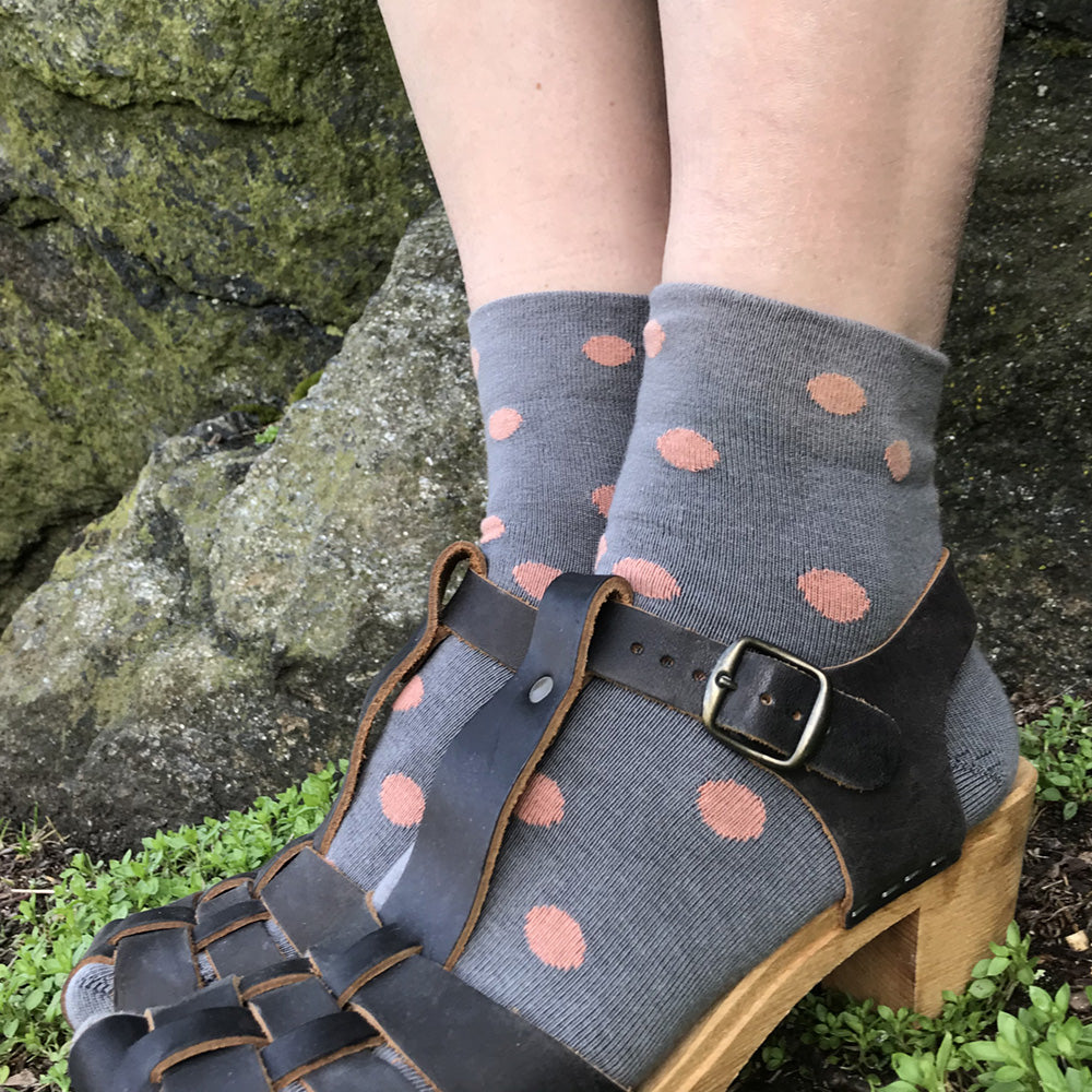 MADE IN USA women's polka dot grey and salmon cotton ankle socks by THIS NIGHT