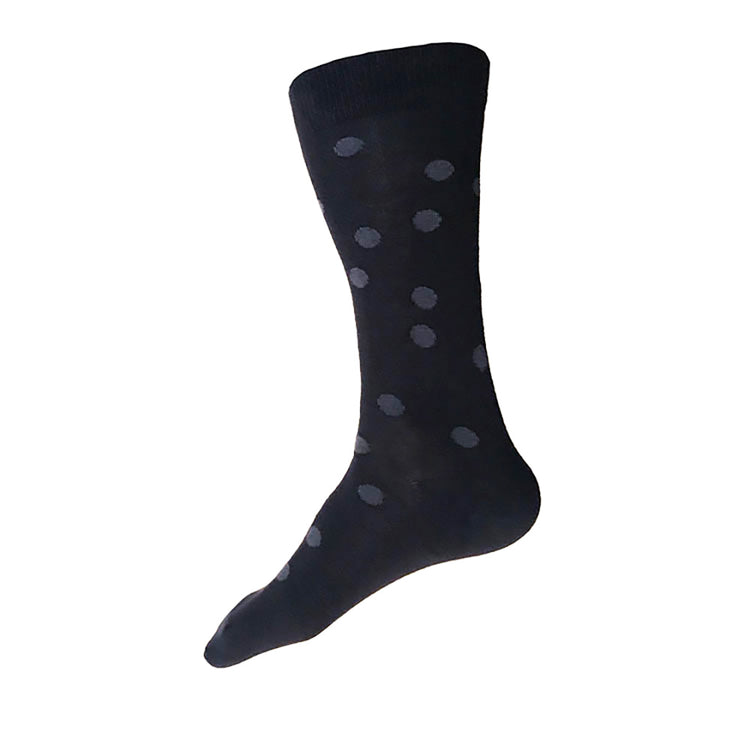 MADE IN USA men's black cotton polka dot socks by THIS NIGHT in black and grey