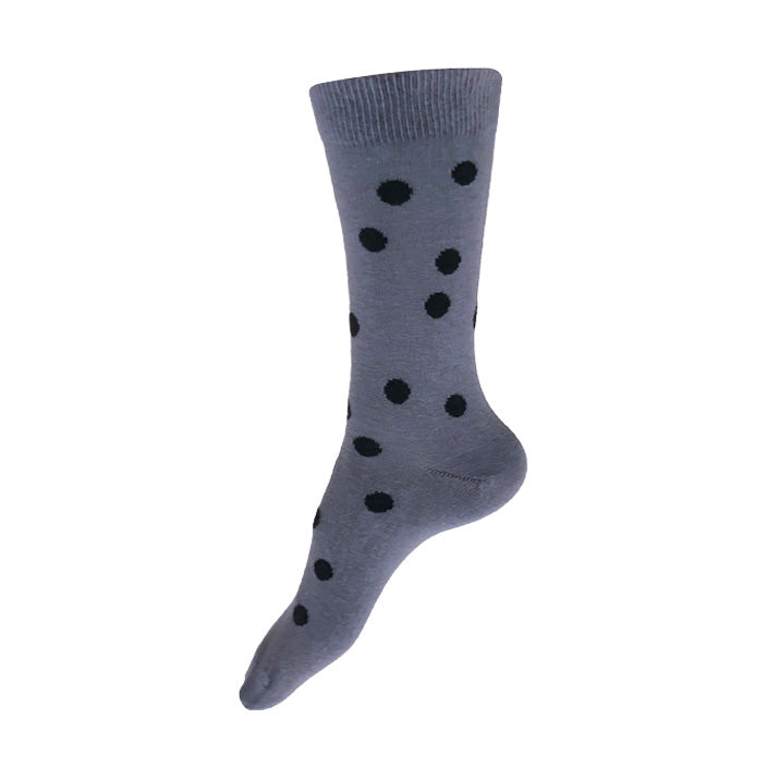 MADE IN USA women's grey cotton socks by THIS NIGHT with black polka dots