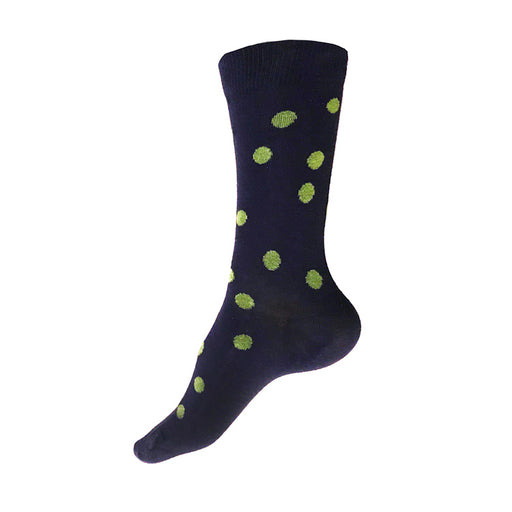 MADE IN USA women's navy cotton socks by THIS NIGHT with green polka dots