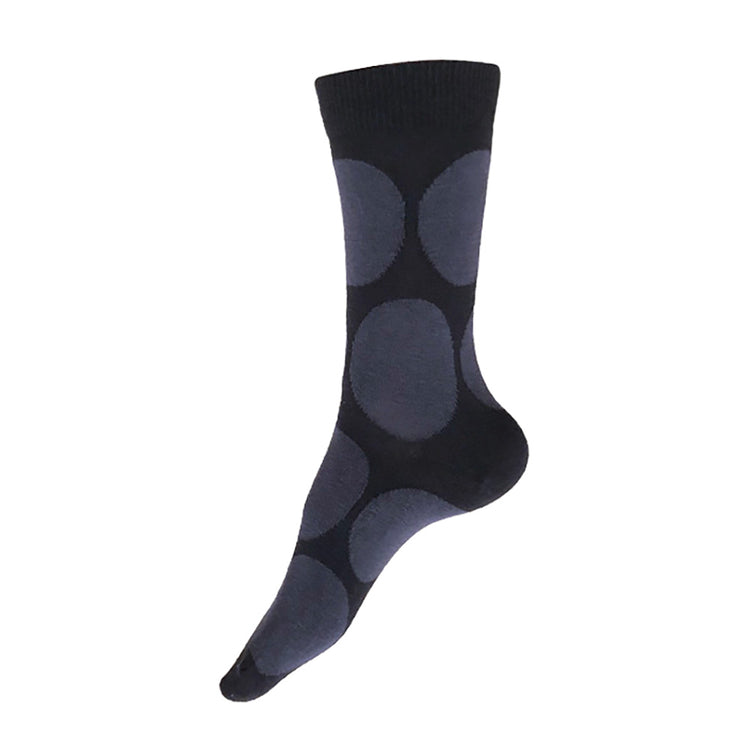 MADE IN USA women's black cotton socks by THIS NIGHT with dark grey polka dots