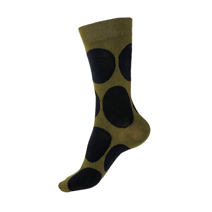 MADE IN USA women's cotton olive socks by THIS NIGHT with large navy polka dots