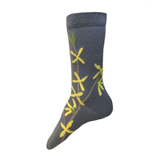 MADE IN USA women's grey cotton socks with yellow forsythia by THIS NIGHT
