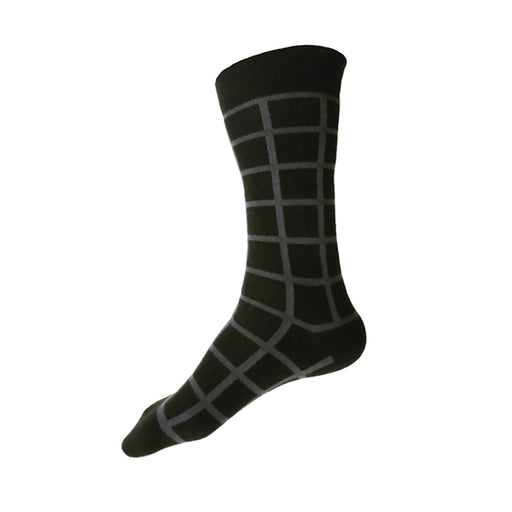 MADE IN USA men's black cotton socks by THIS NIGHT with dark grey windowpane plaid grid pattern