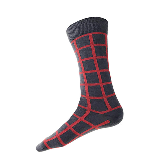 MADE IN USA men's grey cotton socks by THIS NIGHT with red-orange windowpane plaid pattern