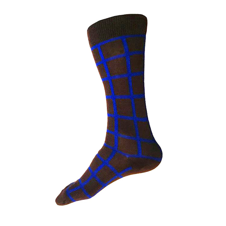MADE IN USA men's brown cotton socks by THIS NIGHT with cobalt blue windowpane plaid pattern