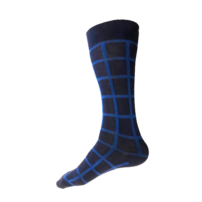 MADE IN USA men's cotton navy socks by THIS NIGHT with blue windowpane plaid pattern