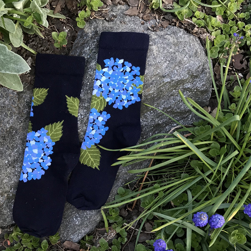 MADE IN USA women's navy and blue hydrangea cotton floral socks by THIS NIGHT