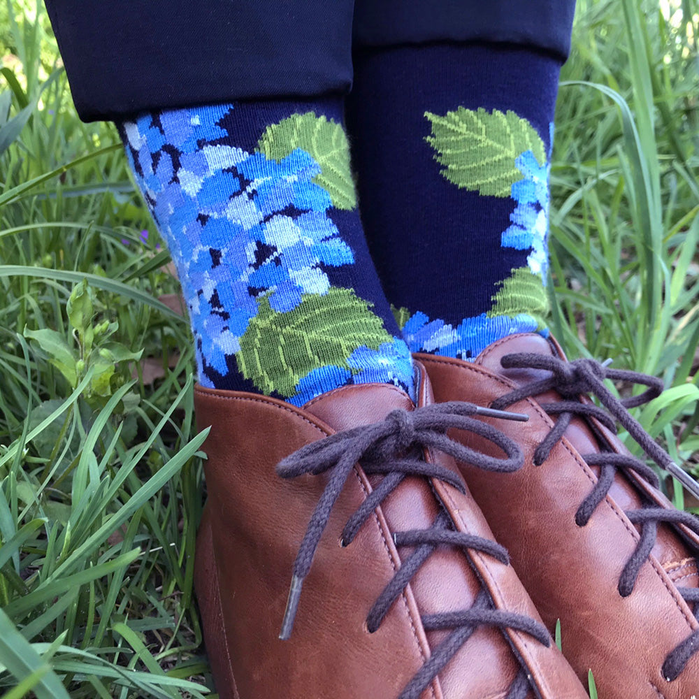 MADE IN USA women's navy and blue hydrangea floral socks by THIS NIGHT