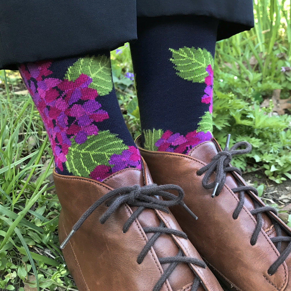MADE IN USA women's navy, pink, & purple hydrangea floral socks by THIS NIGHT