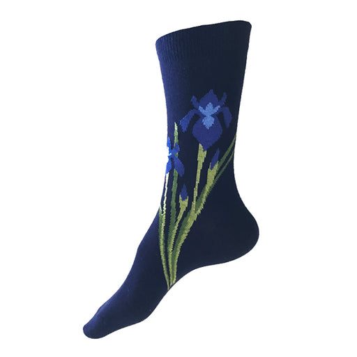 MADE IN USA women's navy cotton socks with Iris (flowers) by THIS NIGHT