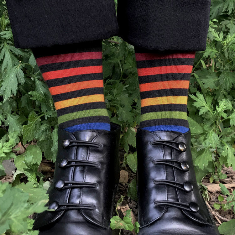 MADE IN USA women's black cotton rainbow socks by THIS NIGHT