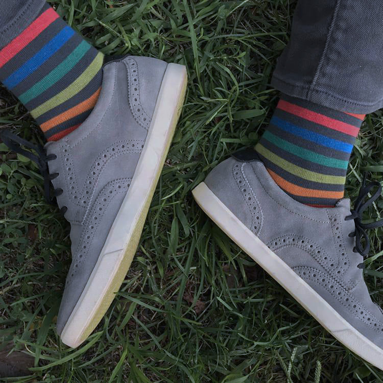 MADE IN USA men's grey cotton striped rainbow socks by THIS NIGHT