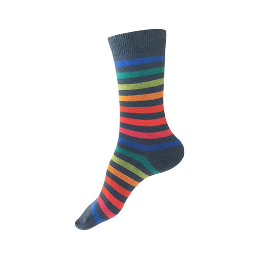MADE IN USA women's grey cotton socks with bright rainbow stripes by THIS NIGHT