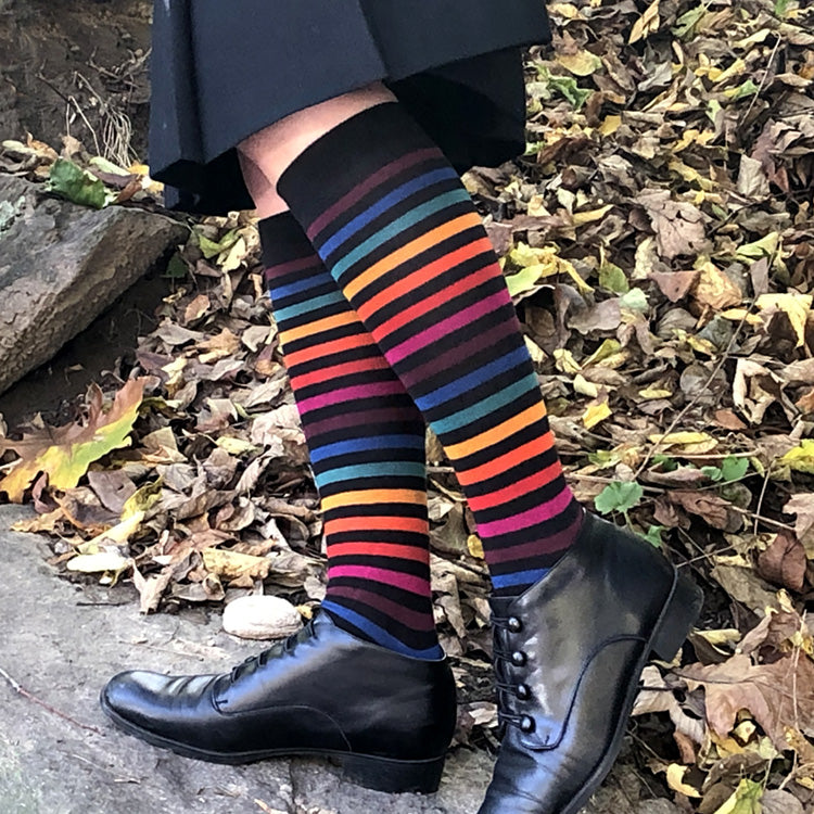 MADE IN USA women's rainbow stripe knee/boot socks by THIS NIGHT