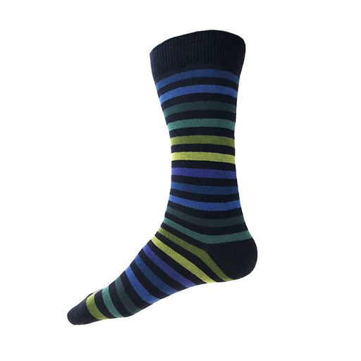 MADE IN USA men's striped navy cotton socks by THIS NIGHT with green, teal, and blue