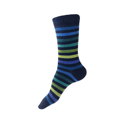 MADE IN USA women's navy striped socks by THIS NIGHT with blues, teals, and greens