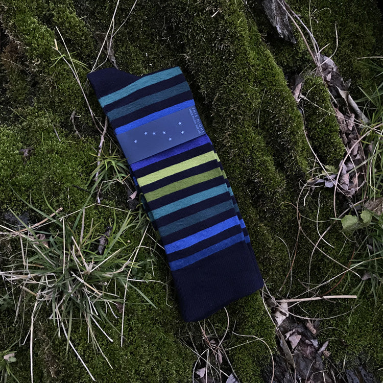 MADE IN USA men's navy cotton socks by THIS NIGHT with green, teal, and blue stripes