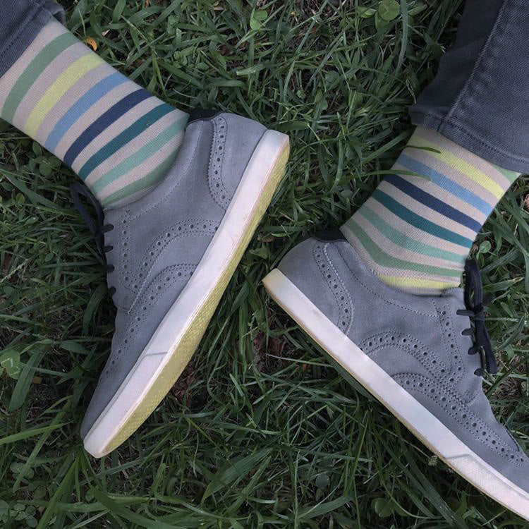 MADE IN USA men's beige/tan striped cotton socks by THIS NIGHT with sea glass colors of blues and greens
