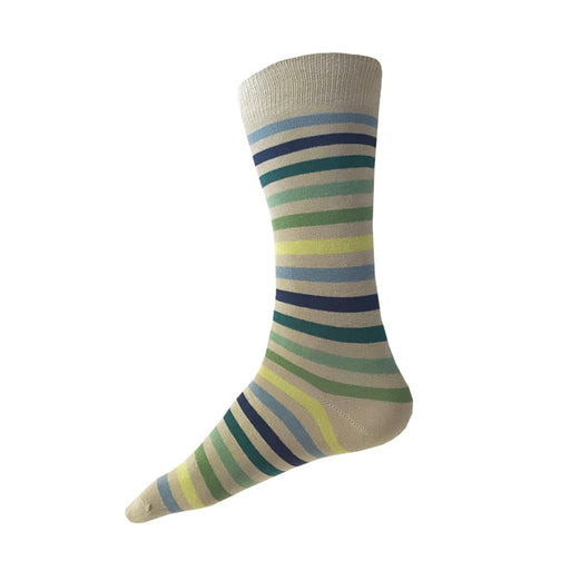 MADE IN USA men's beige/tan striped cotton socks by THIS NIGHT  with blues and greens