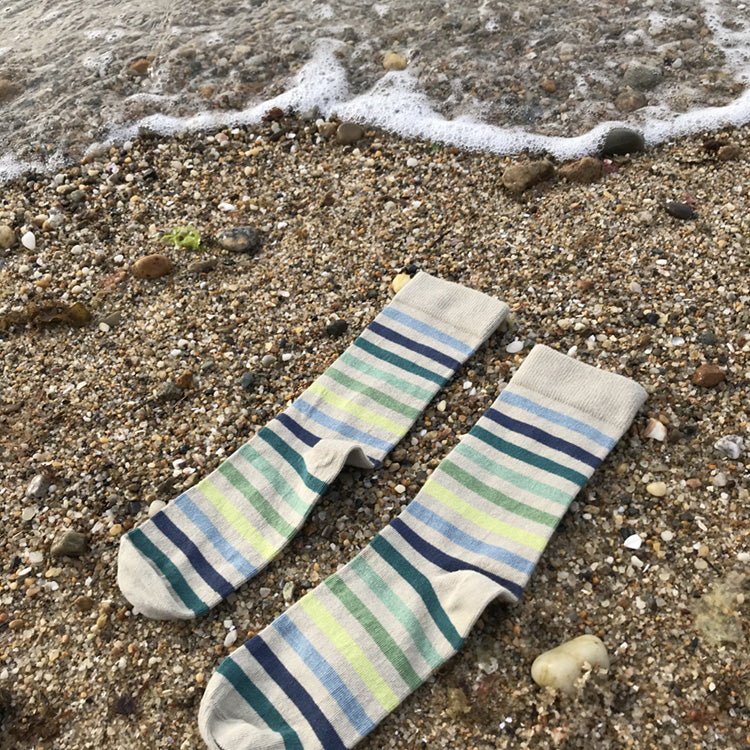 MADE IN USA women's beige/tan cotton socks by THIS NIGHT with blue/green/teal stripes