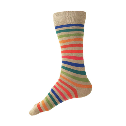 MADE IN USA men's tan/beige cotton socks with bright rainbow stripes by THIS NIGHT