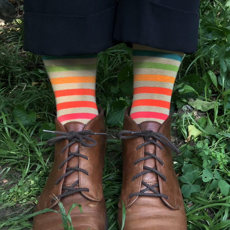 MADE IN USA women's tan/beige cotton socks with bright rainbow stripe by THIS NIGHT