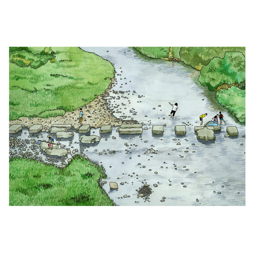 Archival print from A Year in Japan by Kate T. Williamson of the Kamo River in Kyoto