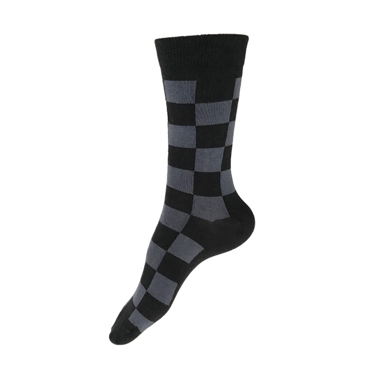 MADE IN USA women's black & grey checkered cotton geometric socks by THIS NIGHT