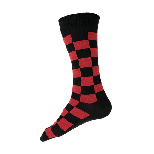MADE IN USA black and red checkered men's cotton socks by THIS NIGHT
