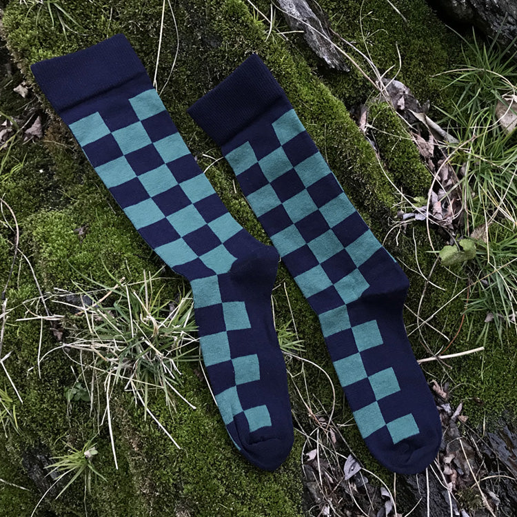 MADE IN USA navy and teal checkered men's cotton geometric socks by THIS NIGHT