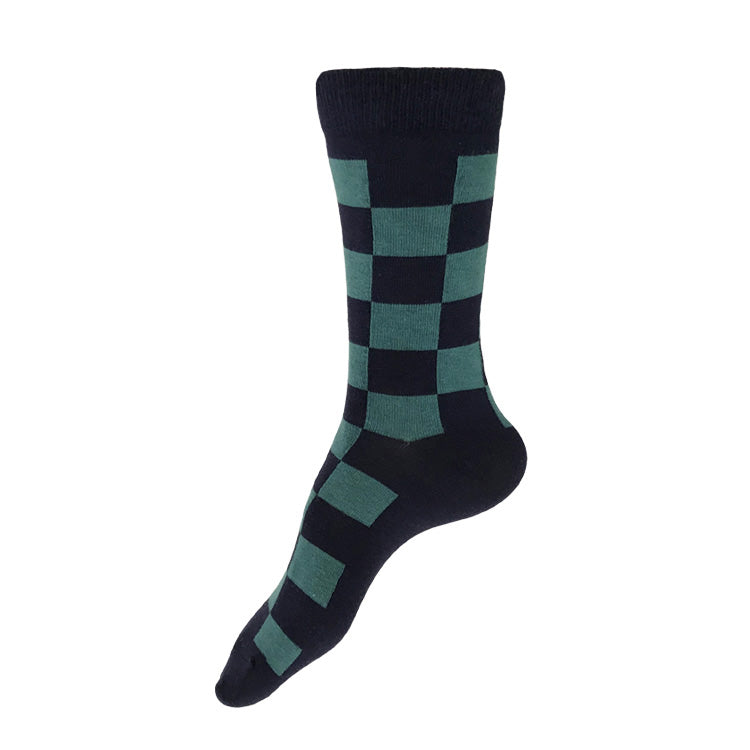 MADE IN USA women's navy + teal checkered cotton geometric socks by THIS NIGHT