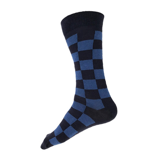 MADE IN USA navy & blue checkered men's cotton geometric socks by THIS NIGHT, inspired by Katsura Rikyū