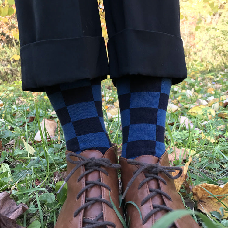 MADE IN USA women's navy & lake checkered cotton geometric socks by THIS NIGHT, inspired by Katsura Rikyū