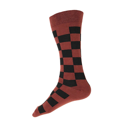 MADE IN USA rust and black checkered men's cotton geometric socks by THIS NIGHT