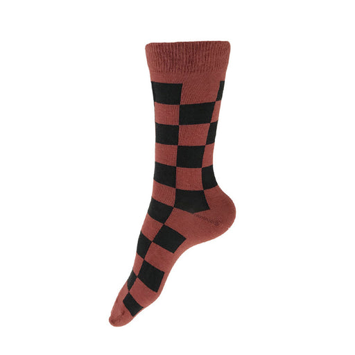 MADE IN USA women's rust & black checkered cotton geometric socks by THIS NIGHT