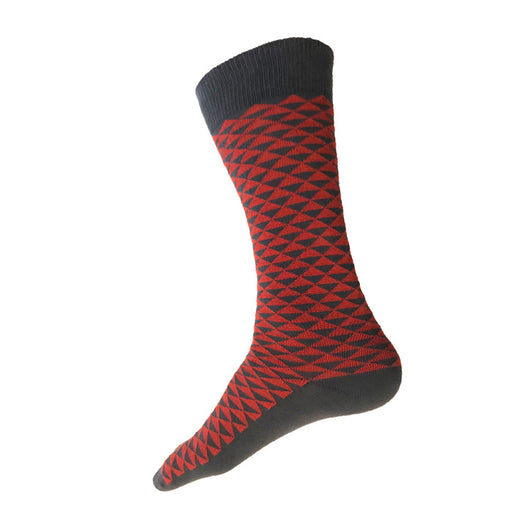 MADE IN USA men's grey cotton socks by THIS NIGHT with red-orange Japanese triangle pattern