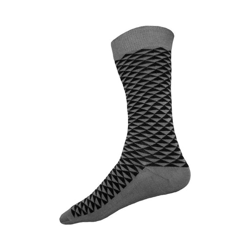 MADE IN USA grey men's cotton socks  by THIS NIGHT with black triangle Japanese pattern
