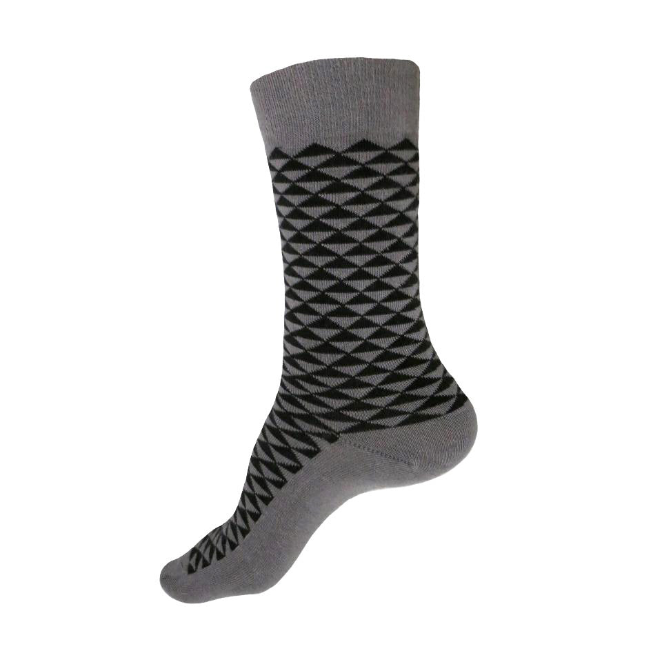 MADE IN USA women's grey cotton socks by THIS NIGHT with black Japanese geometric pattern