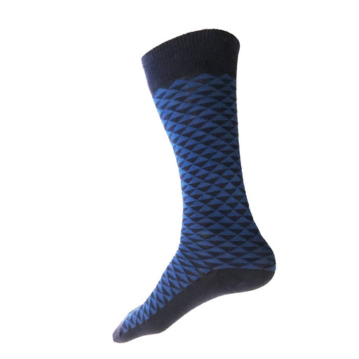MADE IN USA men's navy cotton socks by THIS NIGHT with blue Japanese triangle pattern