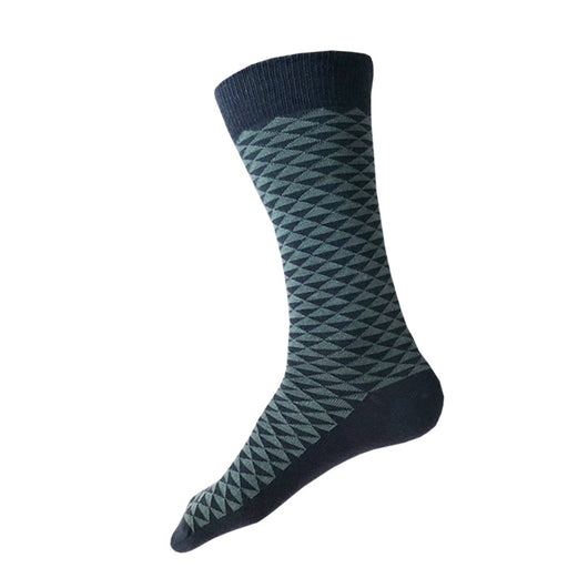MADE IN USA men's navy cotton socks by THIS NIGHT featuring grey-green Japanese triangle pattern