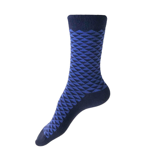 MADE IN USA women's navy cotton socks by THIS NIGHT with periwinkle Japanese geometric pattern