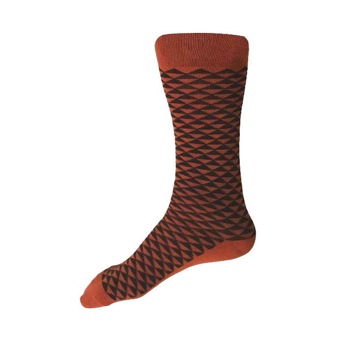 MADE IN USA men's cotton socks by THIS NIGHT in rust with black Japanese geometric pattern