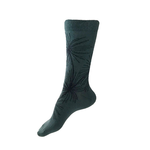 MADE IN USA women's green cotton sock with Japanese pine tree by THIS NIGHT